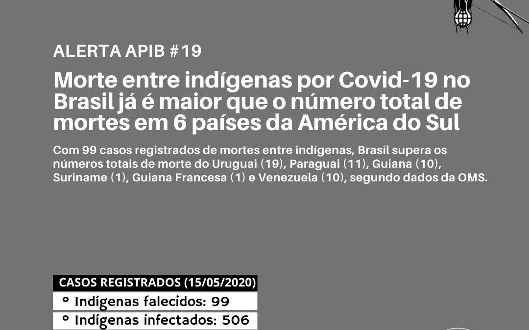 Morte entre indígenas por Covid-19 no Brasil já é maior que o número total de mortes em 6 países da América do Sul